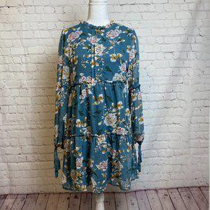 NWT Davi & Dani Teal Blue Floral Chiffon Dress S